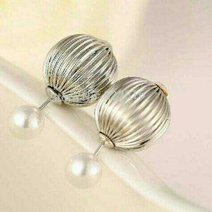 Beautiful Double faced Earrings- Silver tone/Pearl